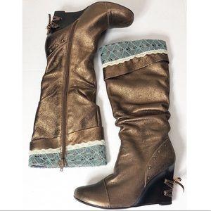 Kenzie Leather Bronze Boho Sexy wedge Boots sz 6.5